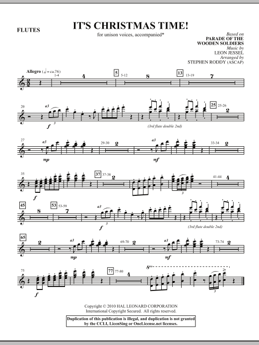 Stephen Roddy It's Christmas Time! - 1st, 2nd, & 3rd Flutes sheet music notes and chords. Download Printable PDF.