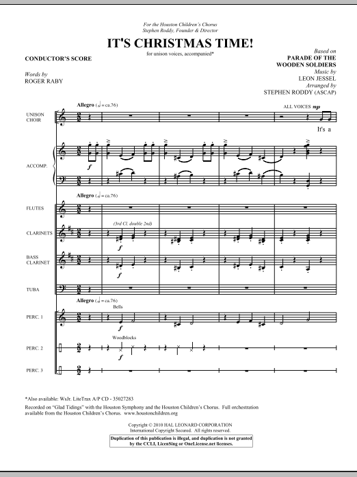Stephen Roddy It's Christmas Time! - Score sheet music notes and chords. Download Printable PDF.