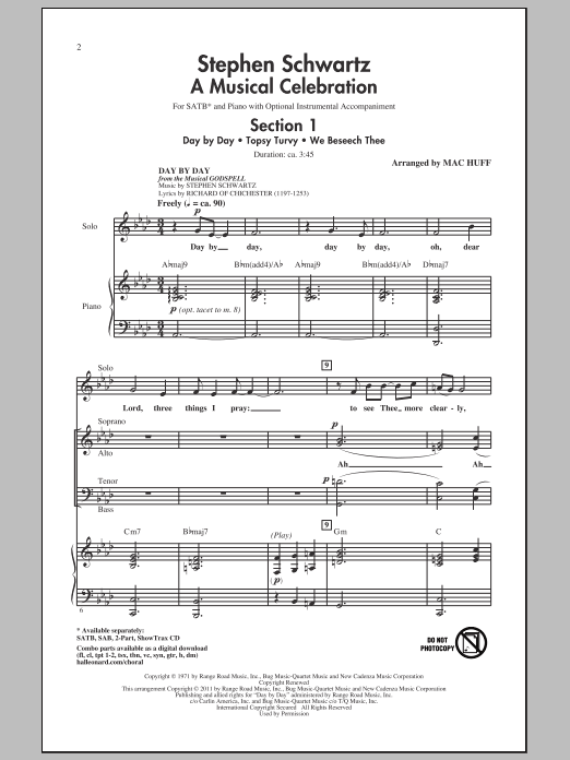 Stephen Schwartz A Musical Celebration (arr. Mac Huff) sheet music notes and chords. Download Printable PDF.