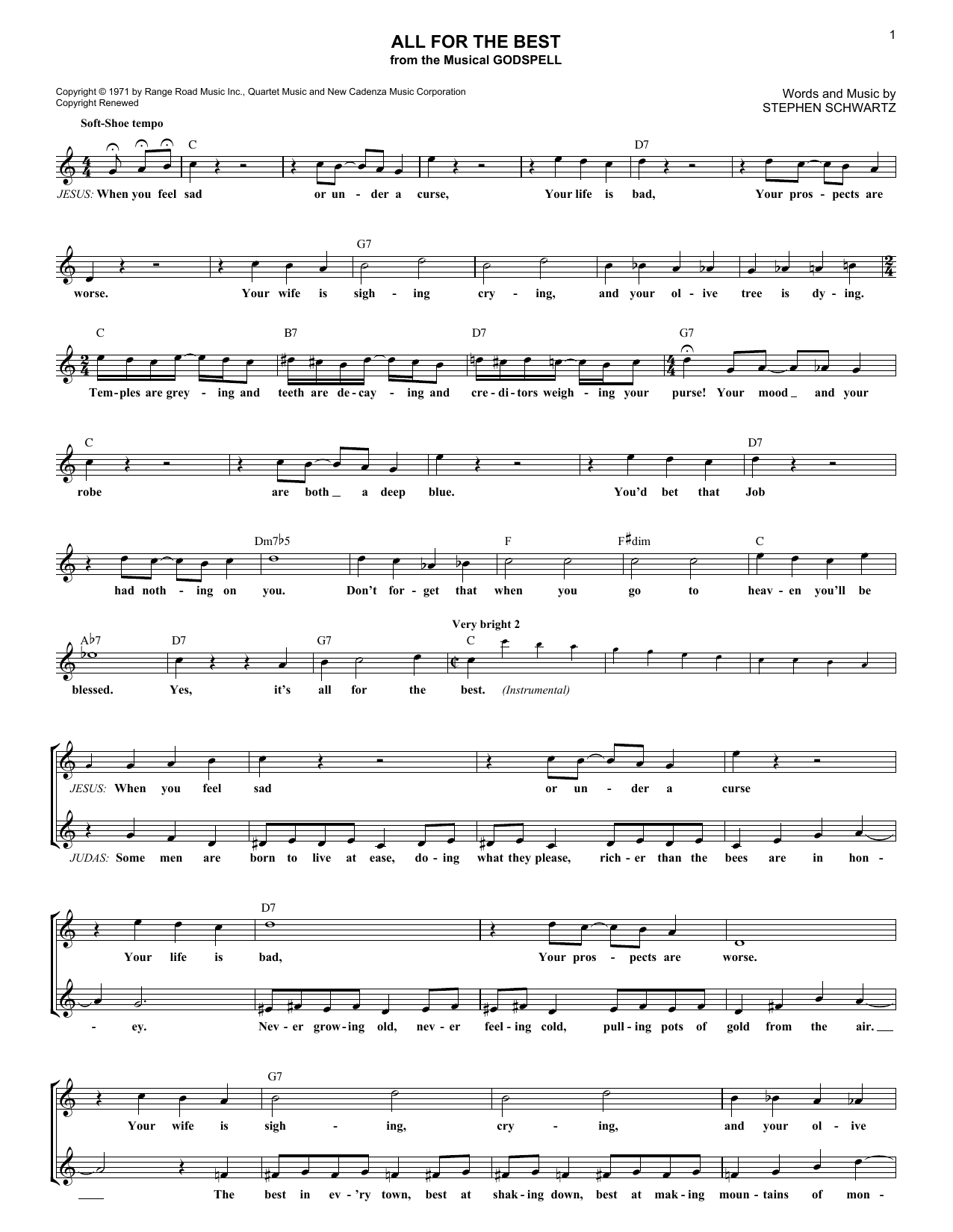 Stephen Schwartz All For The Best sheet music notes and chords. Download Printable PDF.