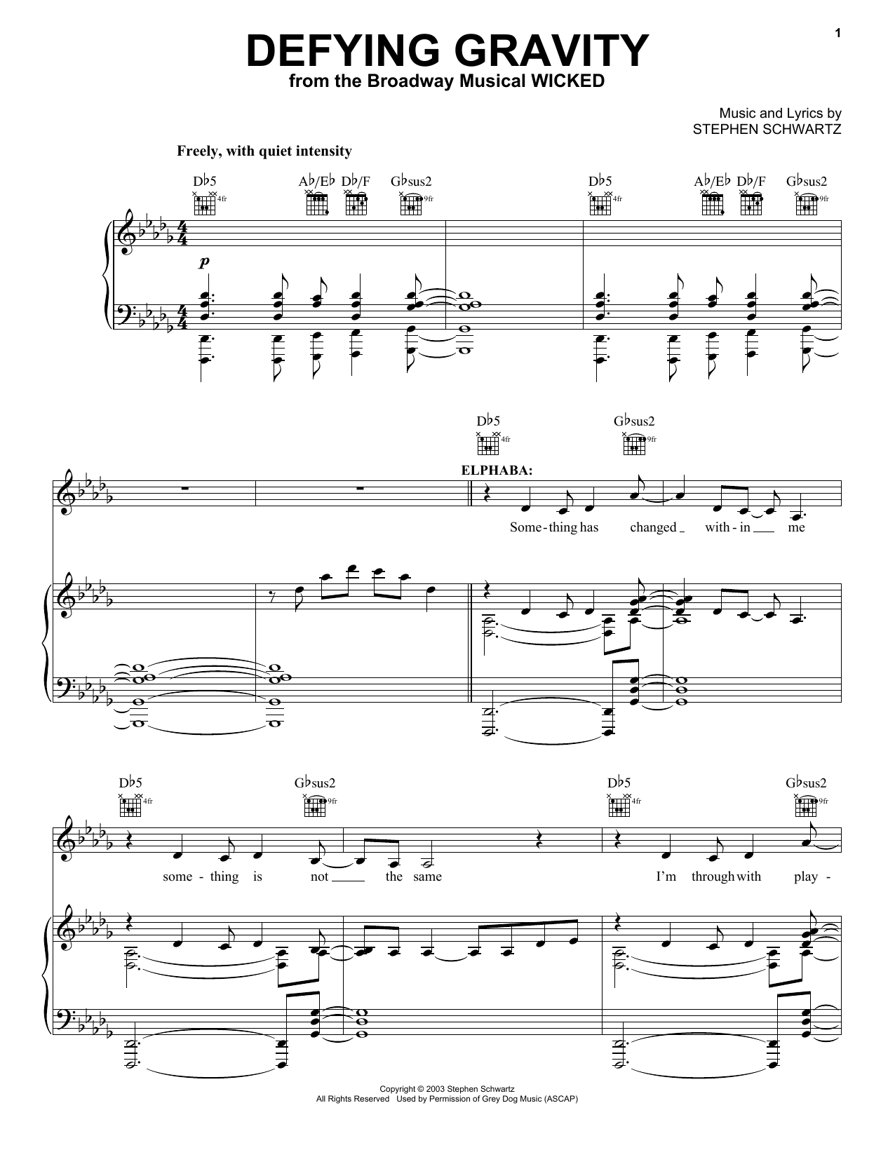 Stephen Schwartz Defying Gravity (from Wicked) sheet music notes and chords