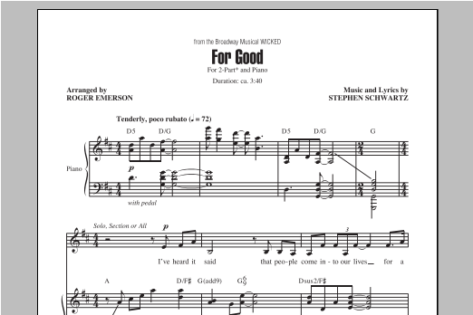 Stephen Schwartz For Good (from Wicked) (arr. Roger Emerson) sheet music notes and chords. Download Printable PDF.