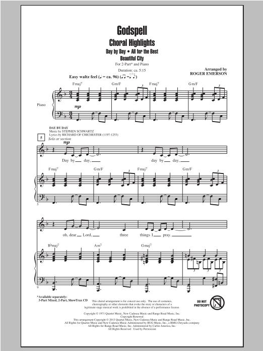 Stephen Schwartz Godspell (Choral Highlights) (arr. Roger Emerson) sheet music notes and chords. Download Printable PDF.