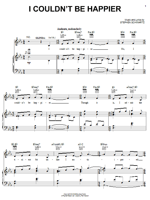 Stephen Schwartz I Couldn't Be Happier (from Wicked) sheet music notes and chords. Download Printable PDF.