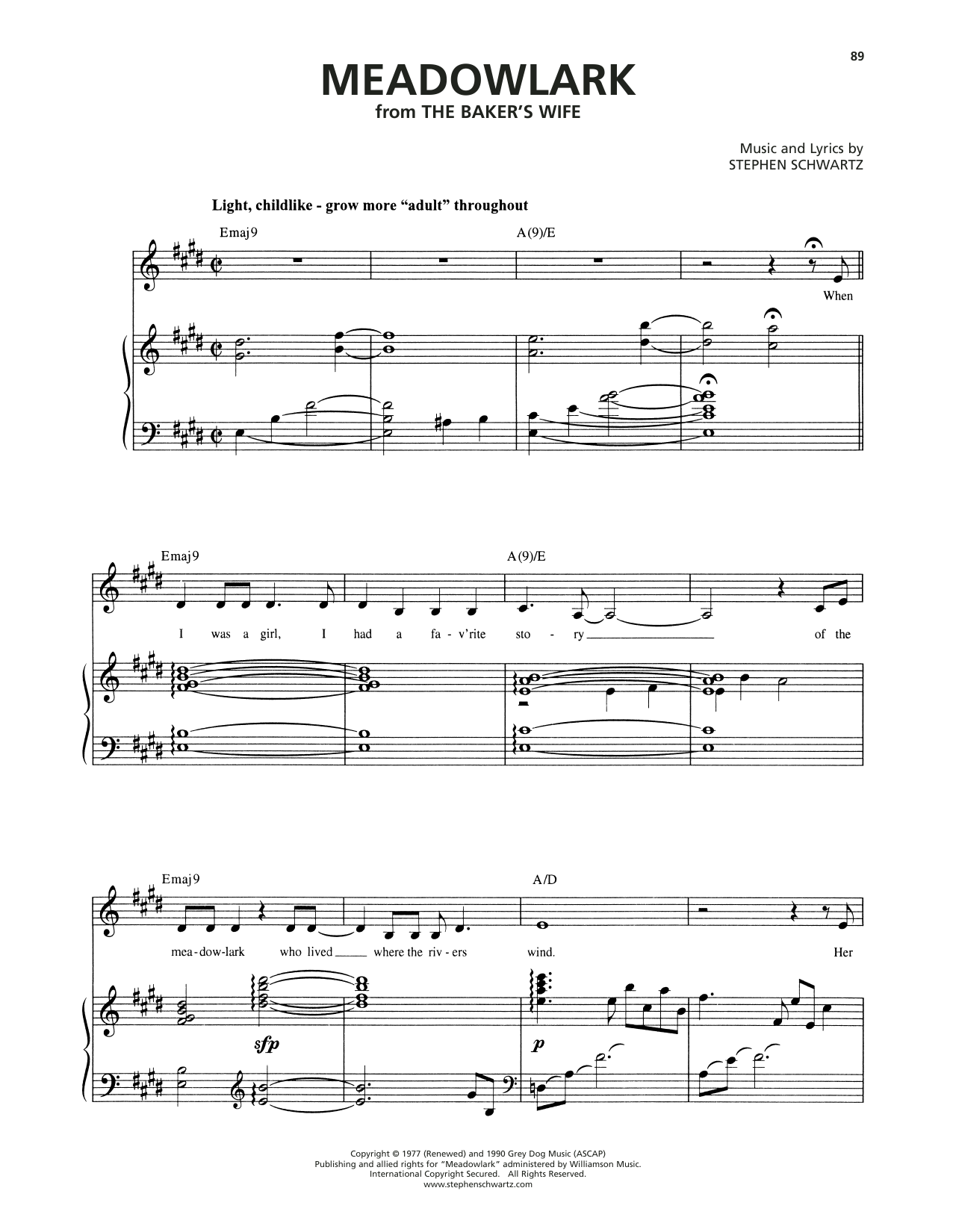 Stephen Schwartz Meadowlark (from The Baker's Wife) sheet music notes and chords. Download Printable PDF.