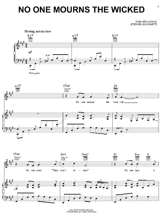 Stephen Schwartz No One Mourns The Wicked (from Wicked) sheet music notes and chords. Download Printable PDF.