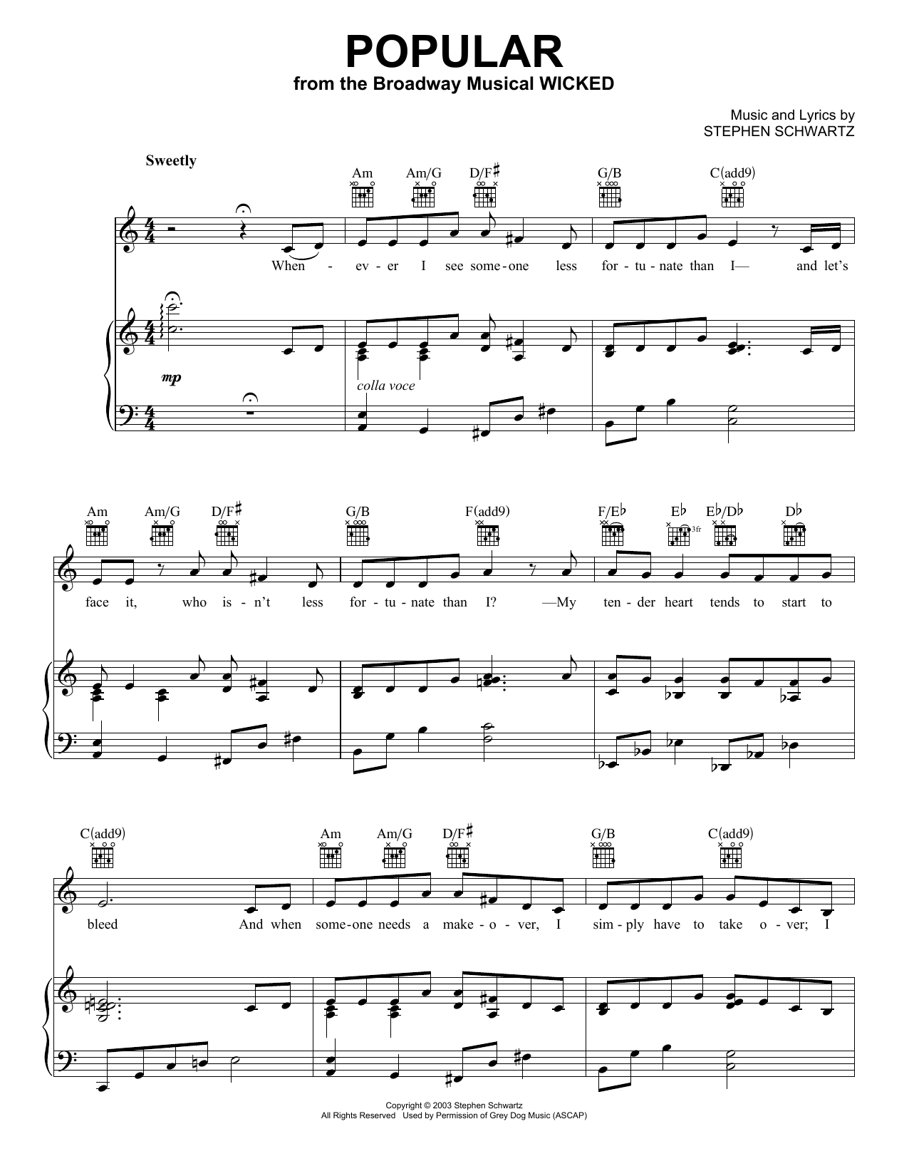 Stephen Schwartz Popular (from Wicked) sheet music notes and chords. Download Printable PDF.