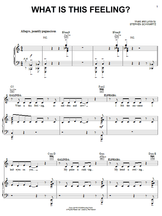 Stephen Schwartz What Is This Feeling? (from Wicked) sheet music notes and chords. Download Printable PDF.