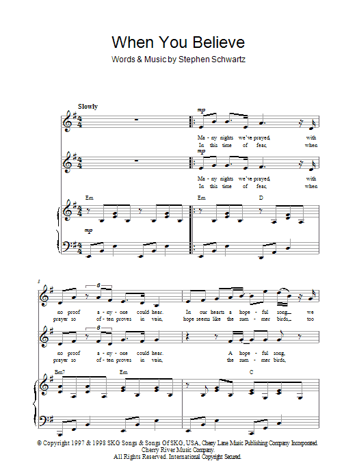 Stephen Schwartz When You Believe sheet music notes and chords. Download Printable PDF.