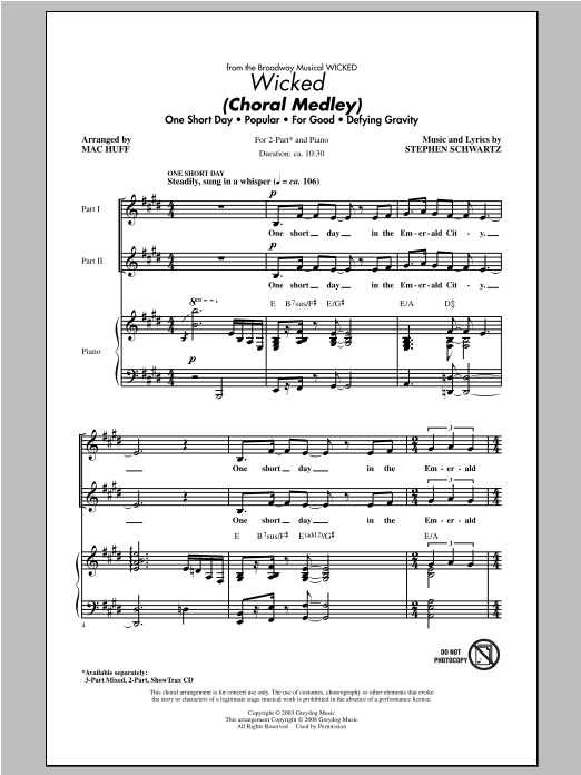 Stephen Schwartz Wicked (Choral Medley) (arr. Mac Huff) sheet music notes and chords. Download Printable PDF.