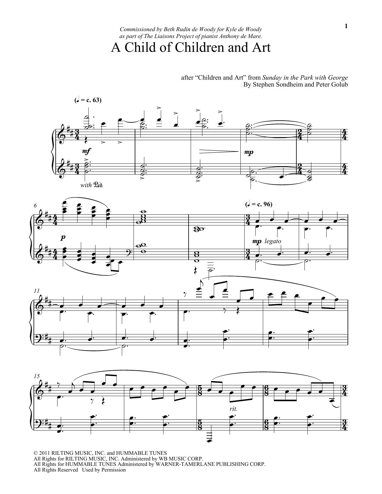 Stephen Sondheim A Child Of Children And Art (arr. Peter Golub) sheet music notes and chords