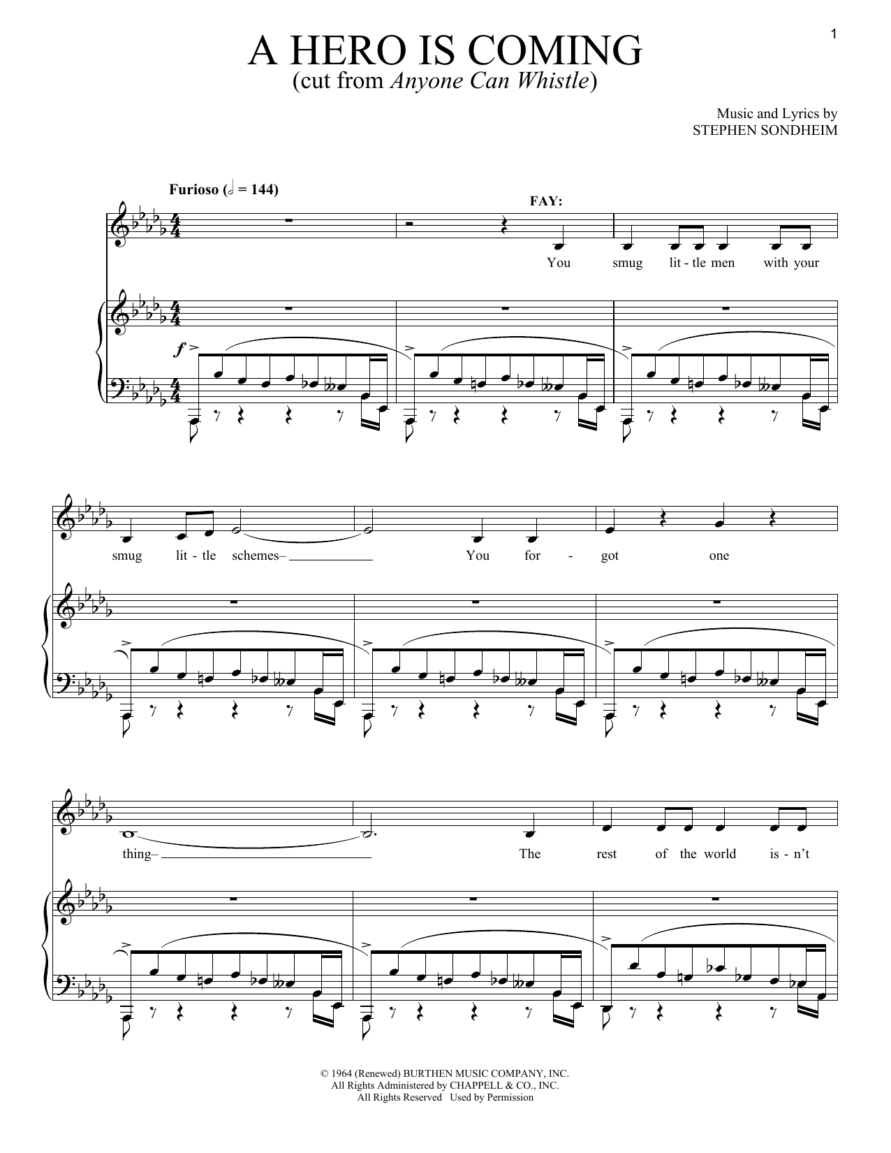 Stephen Sondheim A Hero Is Coming sheet music notes and chords. Download Printable PDF.