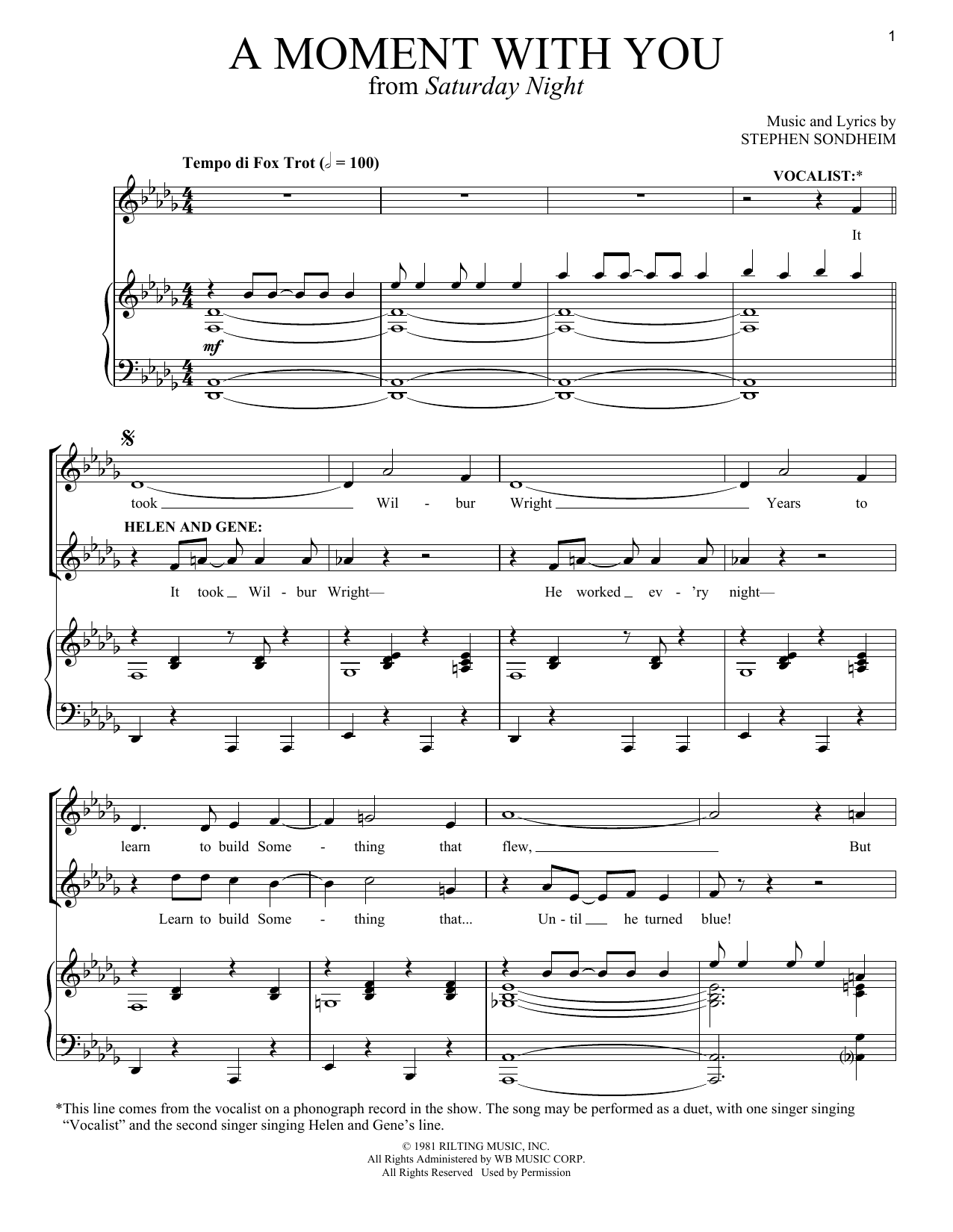 Stephen Sondheim A Moment With You sheet music notes and chords