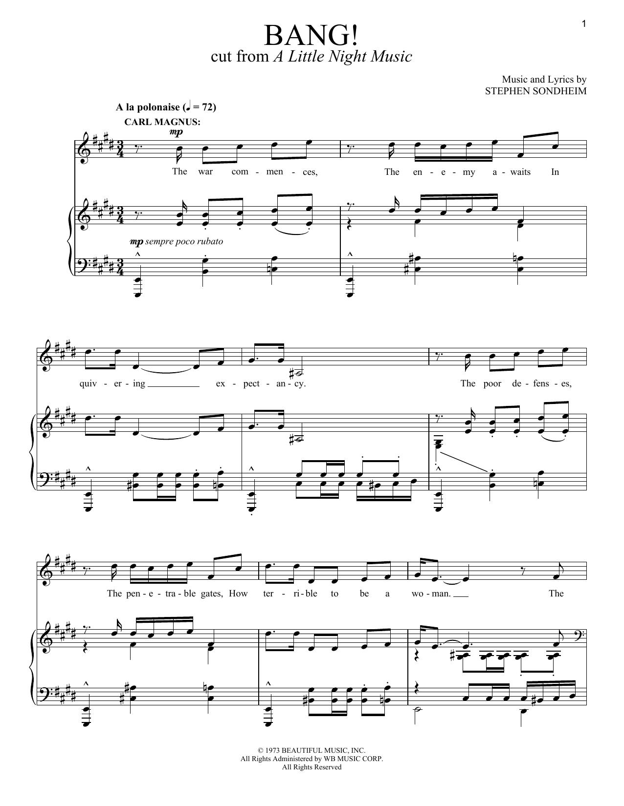 Stephen Sondheim Bang! sheet music notes and chords. Download Printable PDF.