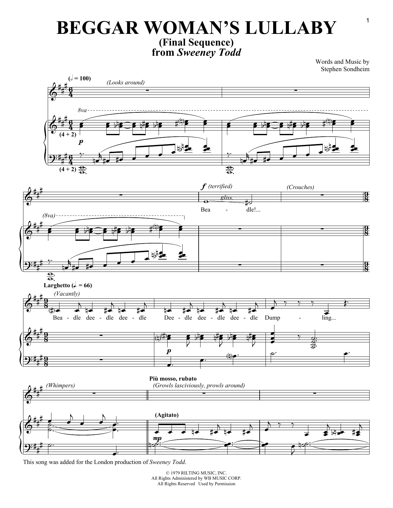 Stephen Sondheim Beggar Woman's Lullaby (Final Sequence) sheet music notes and chords. Download Printable PDF.