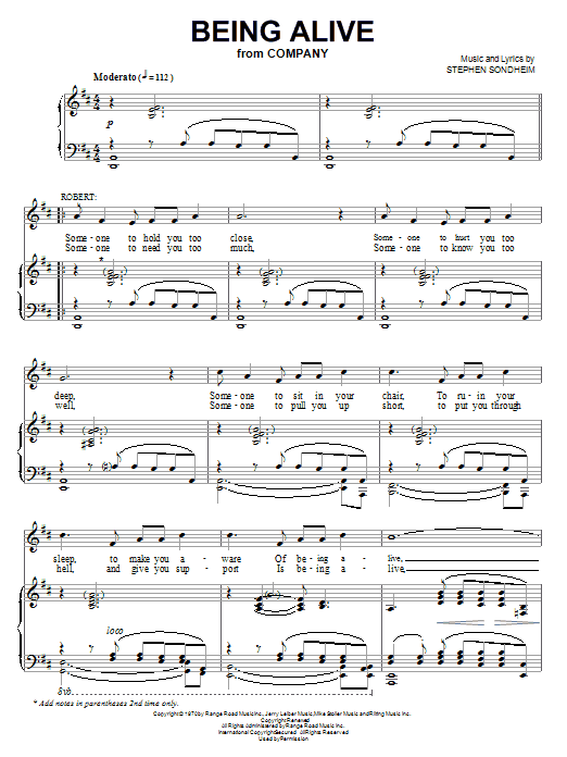 Stephen Sondheim Being Alive sheet music notes and chords. Download Printable PDF.
