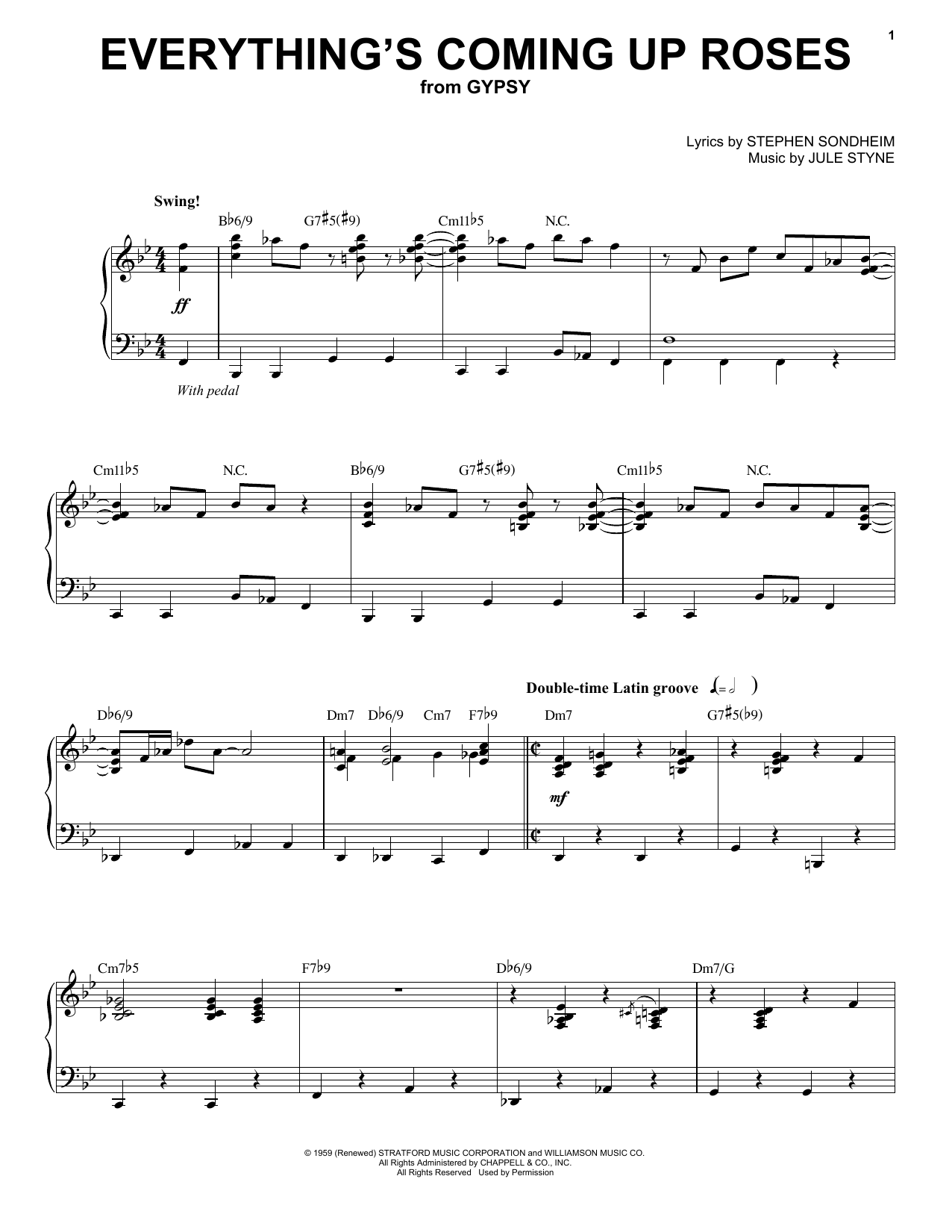 Stephen Sondheim Everything's Coming Up Roses sheet music notes and chords