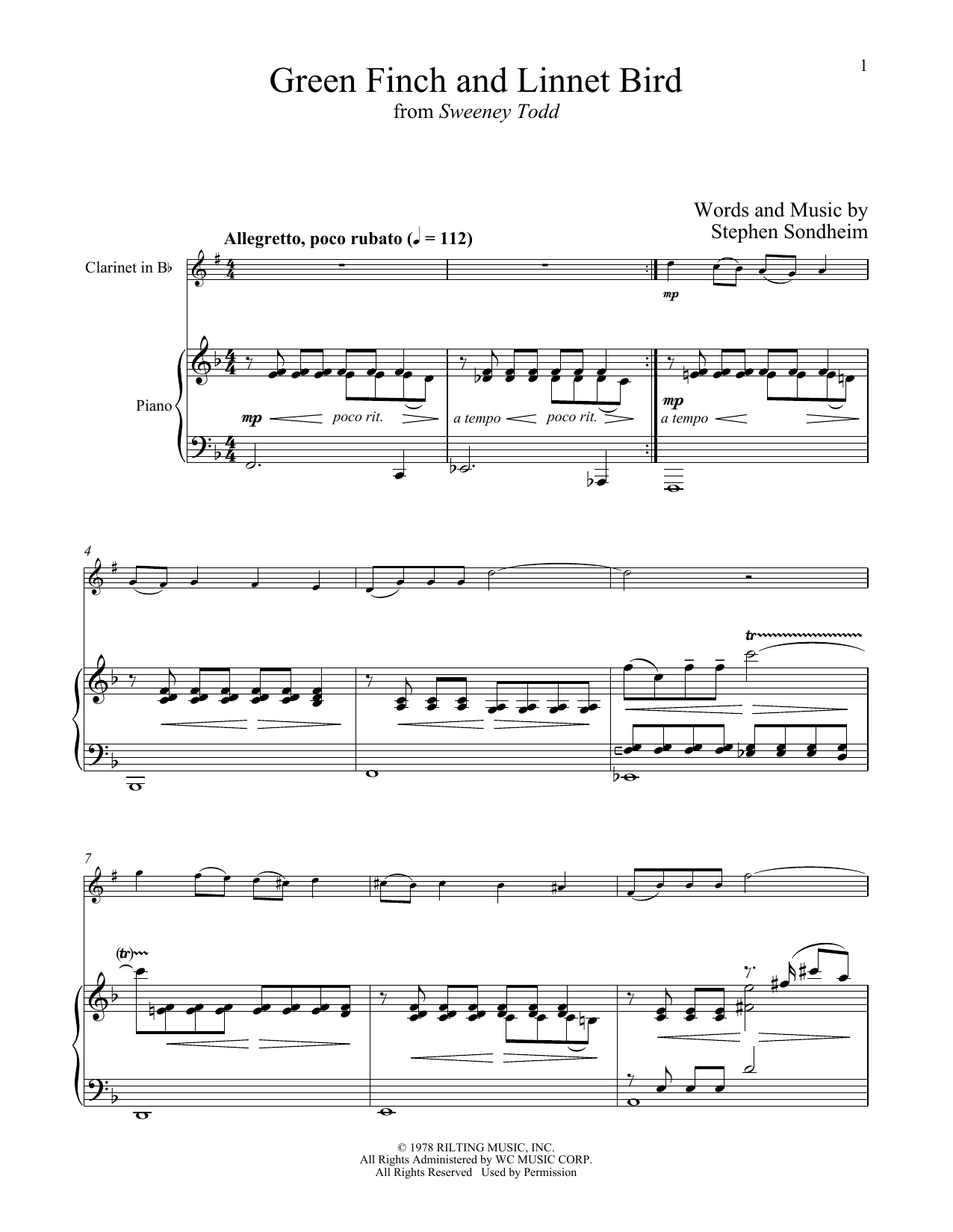 Stephen Sondheim Green Finch And Linnet Bird (from Sweeney Todd) sheet music notes and chords. Download Printable PDF.