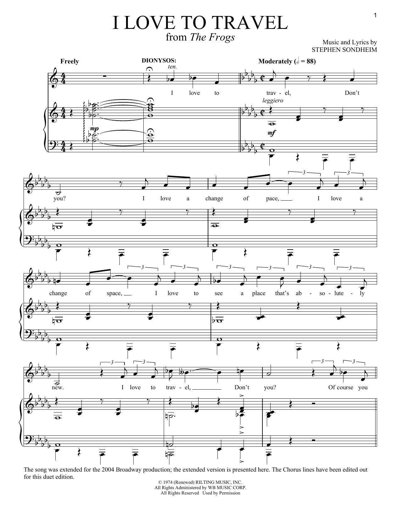 Stephen Sondheim I Love To Travel sheet music notes and chords. Download Printable PDF.