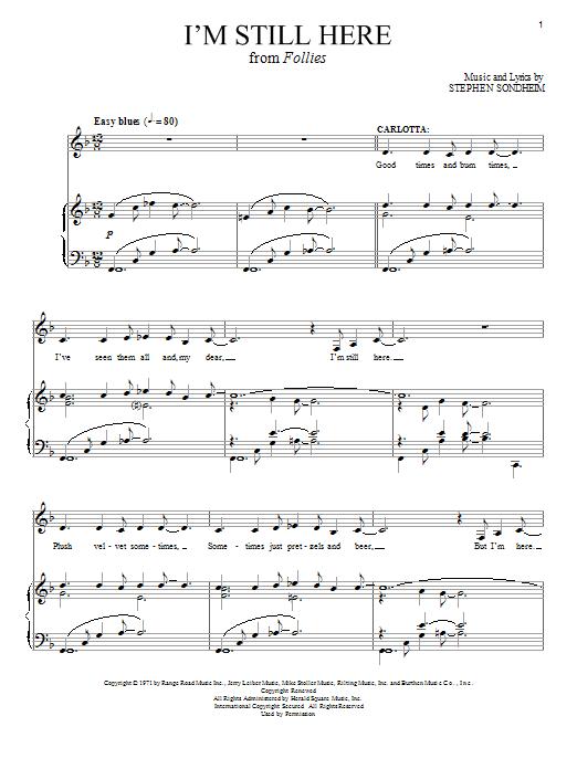 Stephen Sondheim I'm Still Here sheet music notes and chords. Download Printable PDF.