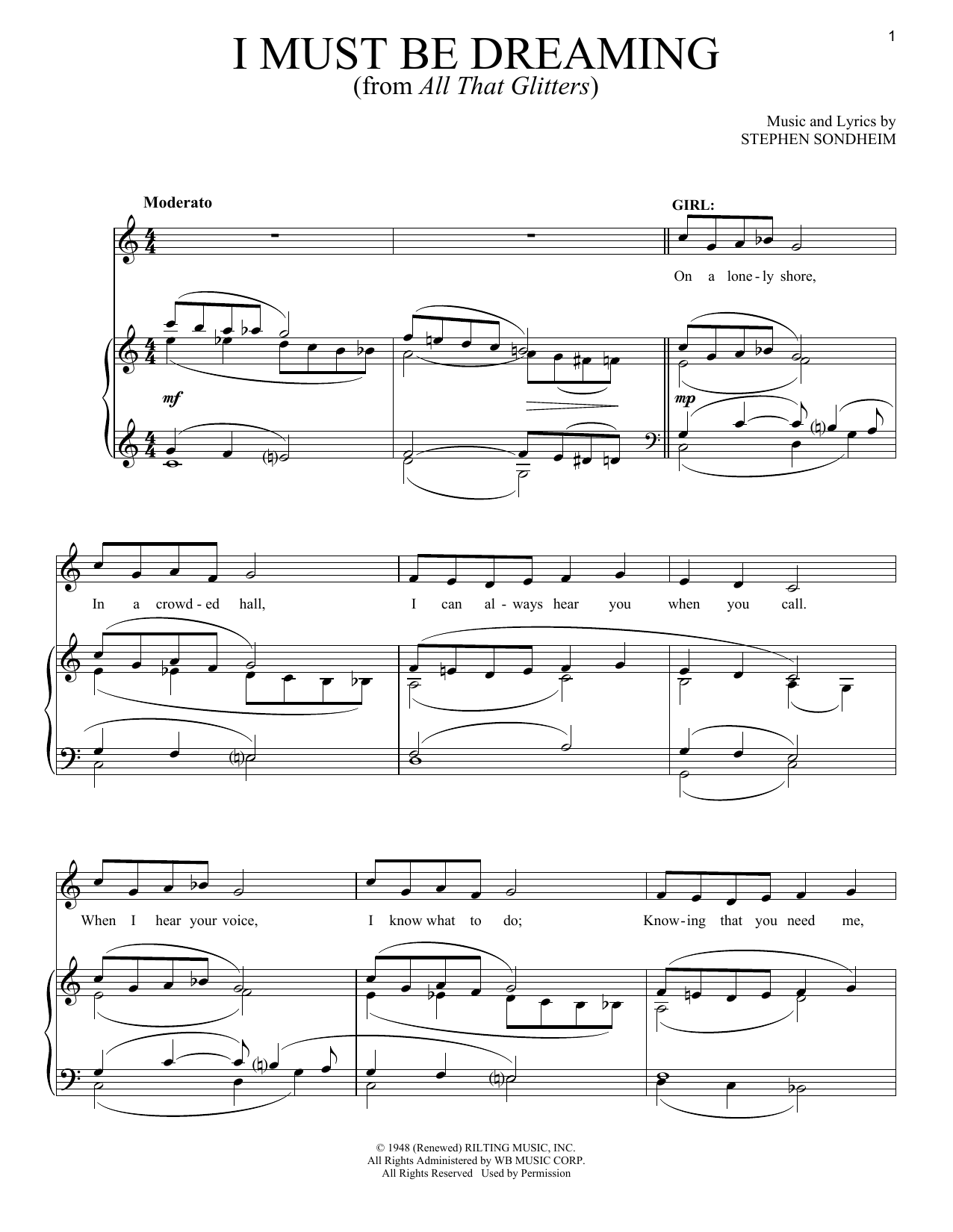 Stephen Sondheim I Must Be Dreaming sheet music notes and chords. Download Printable PDF.