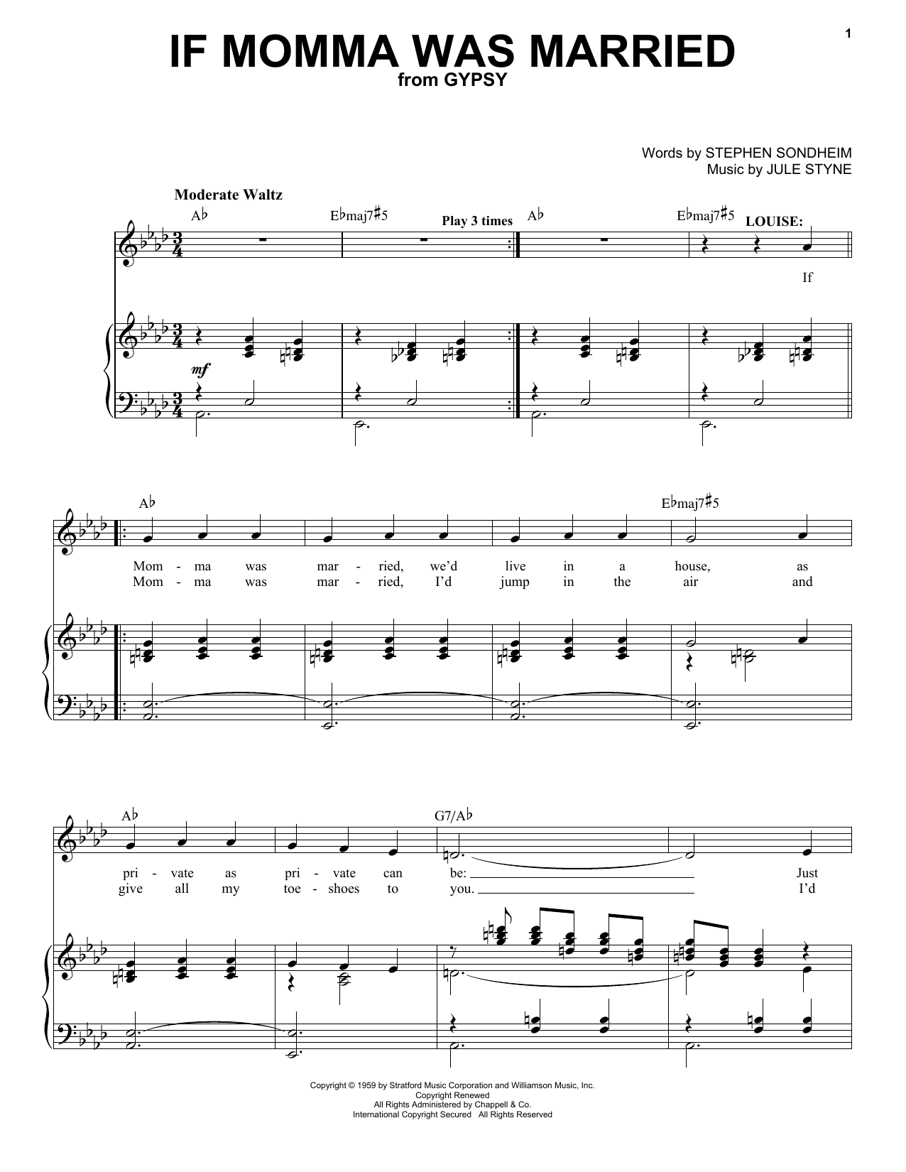 Stephen Sondheim If Momma Was Married sheet music notes and chords. Download Printable PDF.
