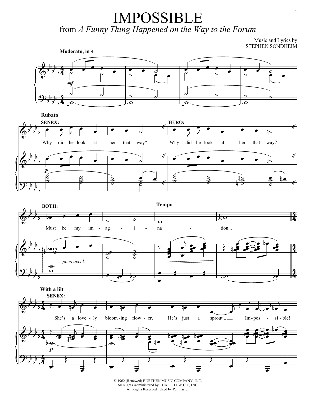 Stephen Sondheim Impossible sheet music notes and chords. Download Printable PDF.