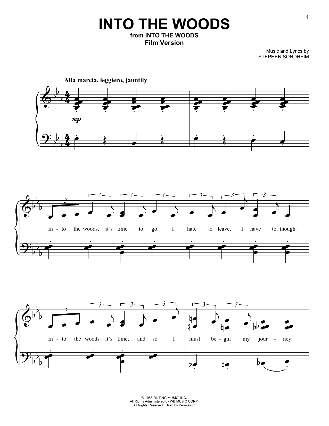 Stephen Sondheim Into The Woods (Film Version) sheet music notes and chords