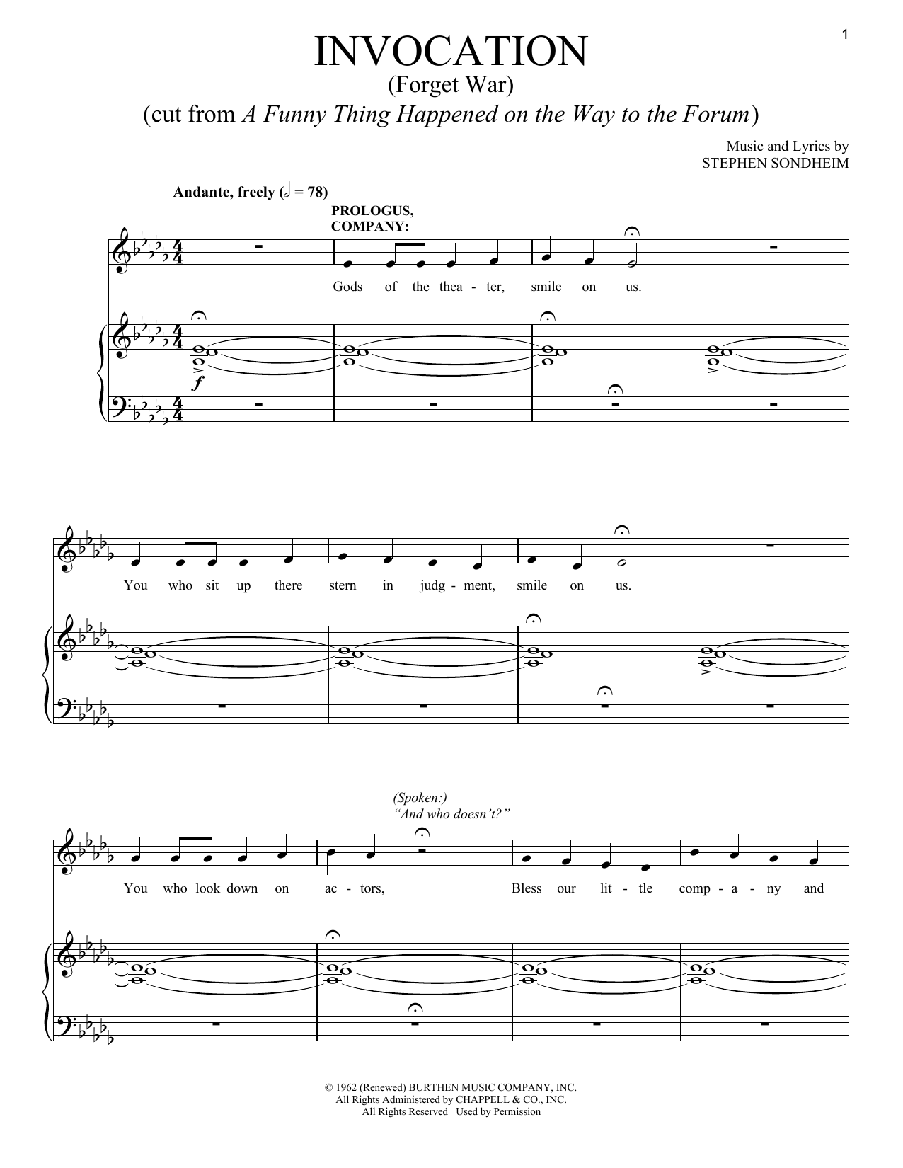 Stephen Sondheim Invocation (Forget War) sheet music notes and chords. Download Printable PDF.
