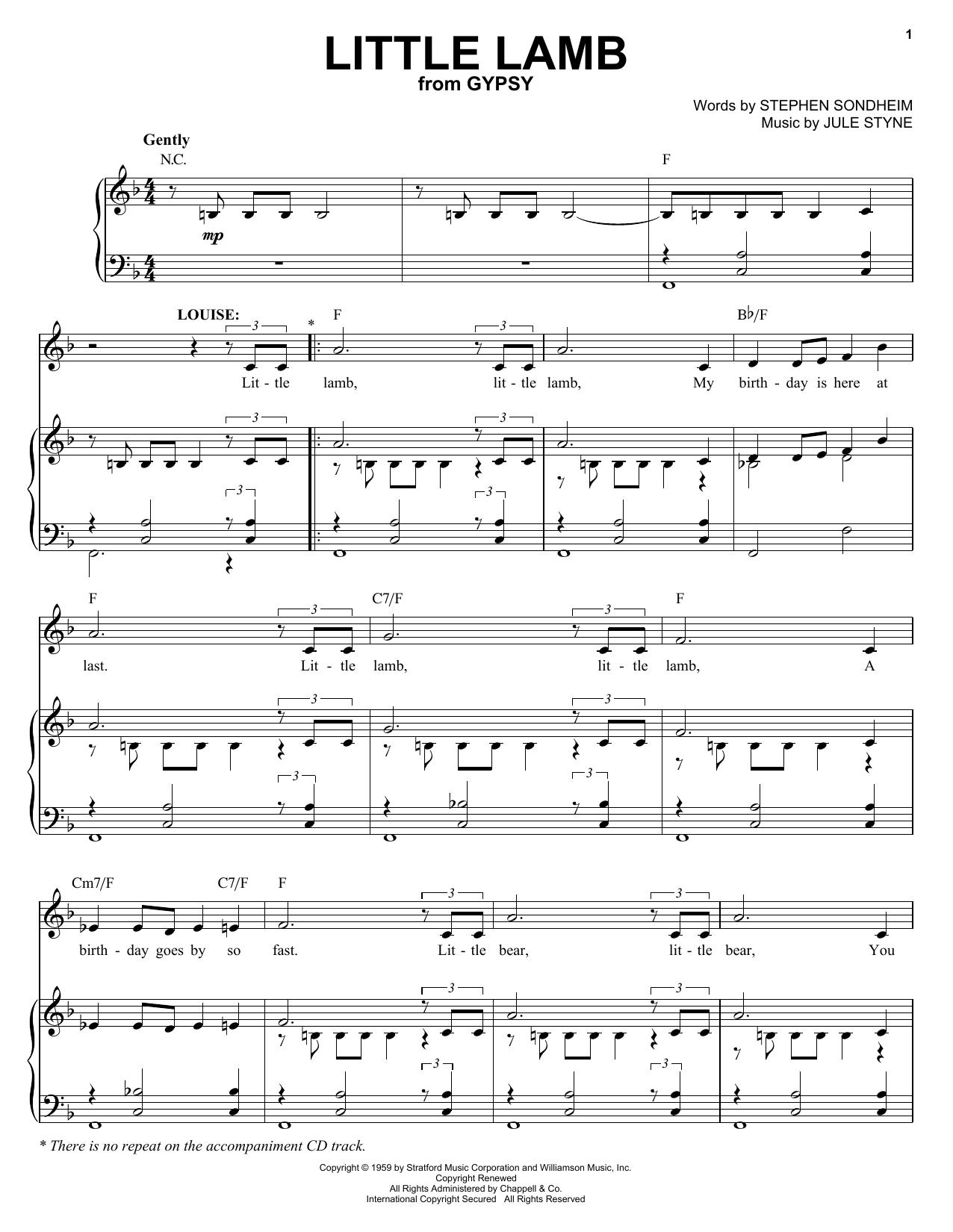 Stephen Sondheim Little Lamb sheet music notes and chords. Download Printable PDF.