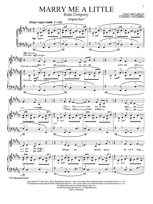 Stephen Sondheim Marry Me A Little sheet music notes and chords