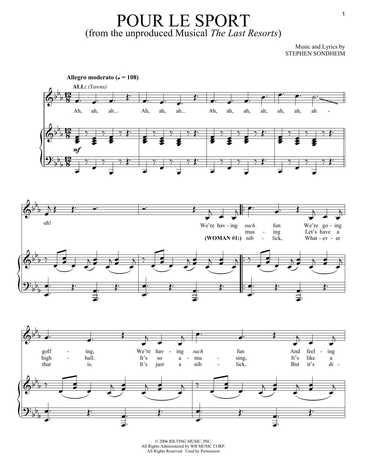 Stephen Sondheim Pour Le Sport sheet music notes and chords