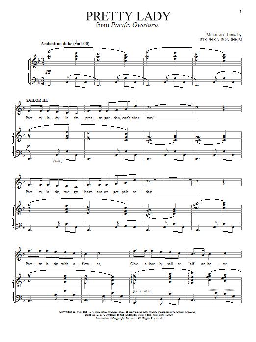 Stephen Sondheim Pretty Lady sheet music notes and chords