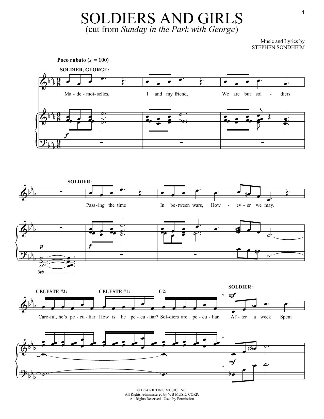 Stephen Sondheim Soldiers And Girls sheet music notes and chords