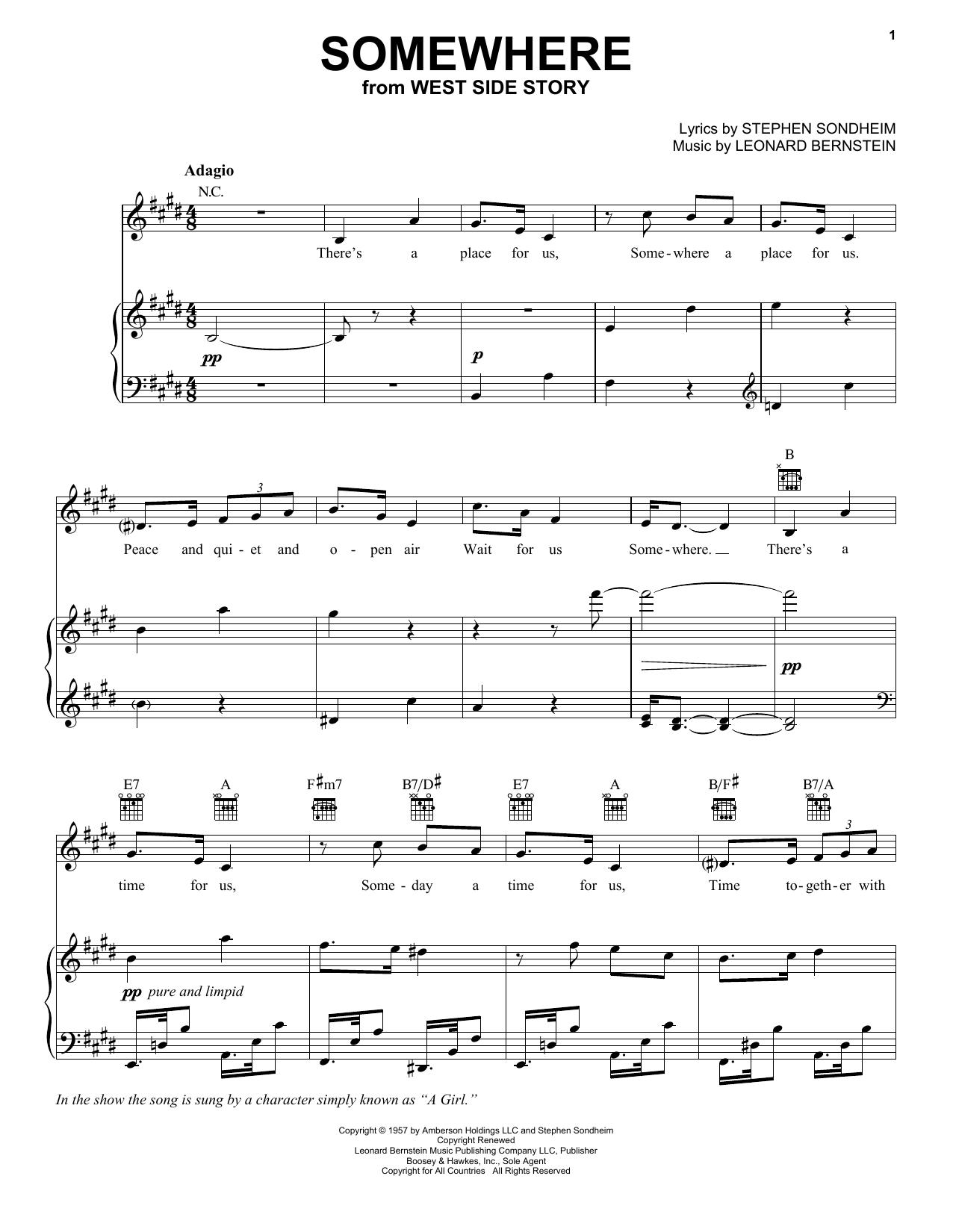 Stephen Sondheim Somewhere sheet music notes and chords