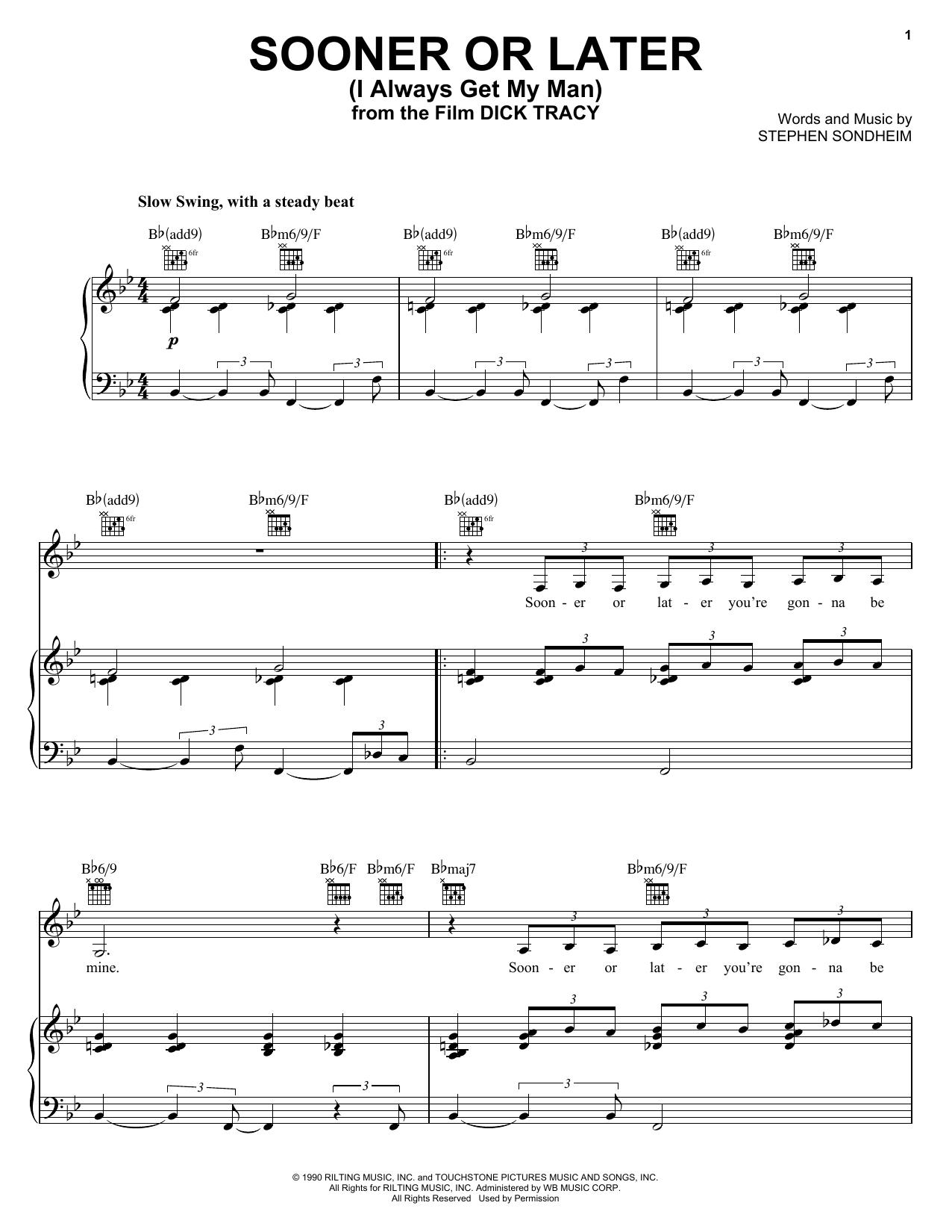 Stephen Sondheim Sooner Or Later (I Always Get My Man) sheet music notes and chords. Download Printable PDF.