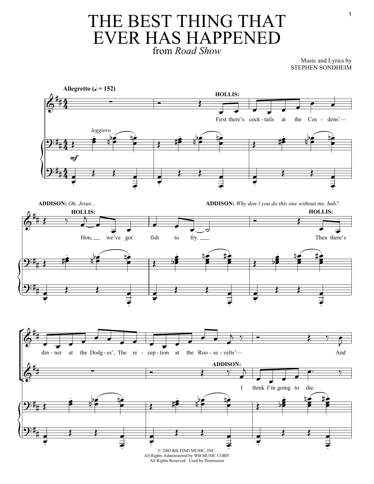 Stephen Sondheim The Best Thing That Ever Has Happened sheet music notes and chords. Download Printable PDF.