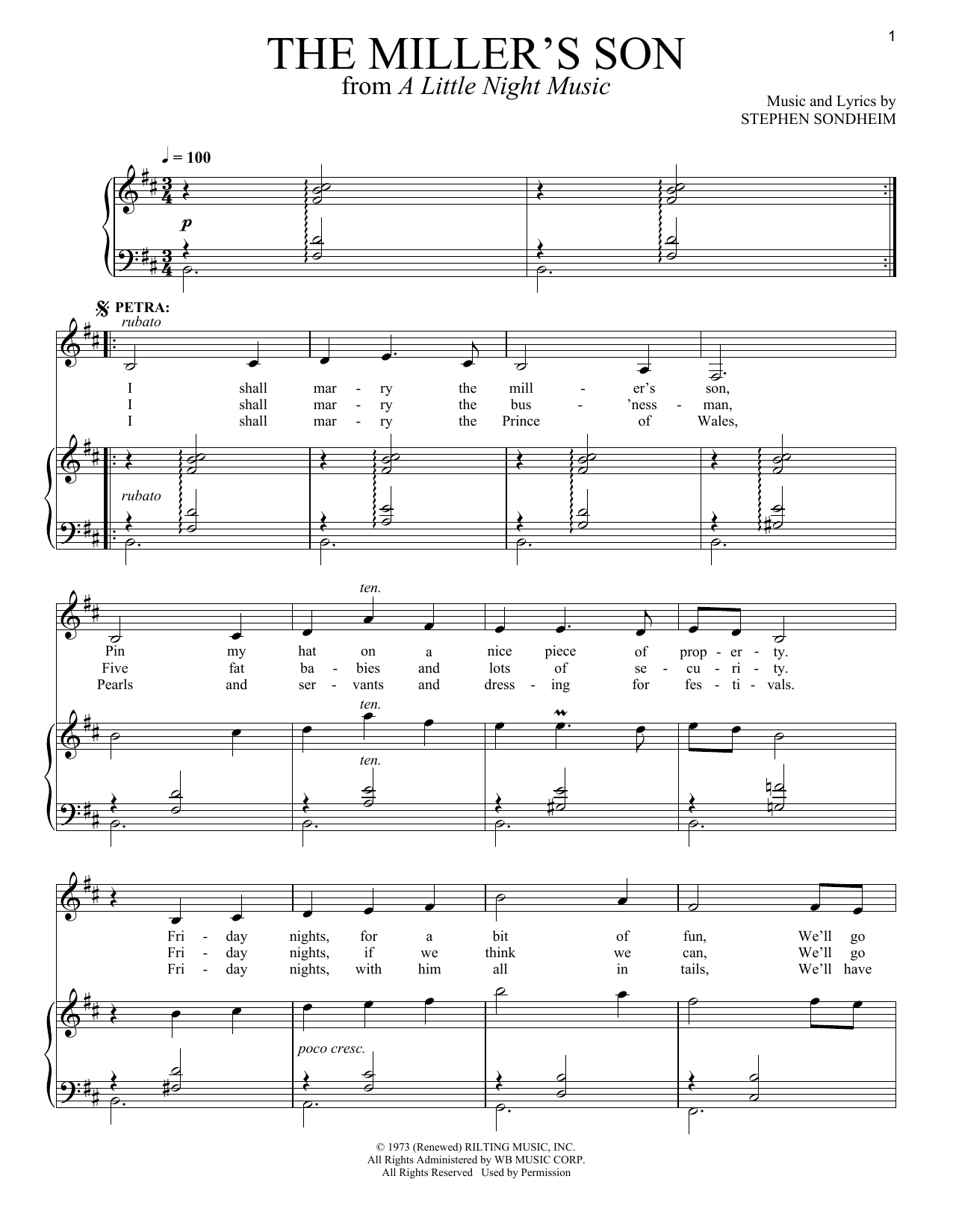 Stephen Sondheim The Miller's Son sheet music notes and chords. Download Printable PDF.