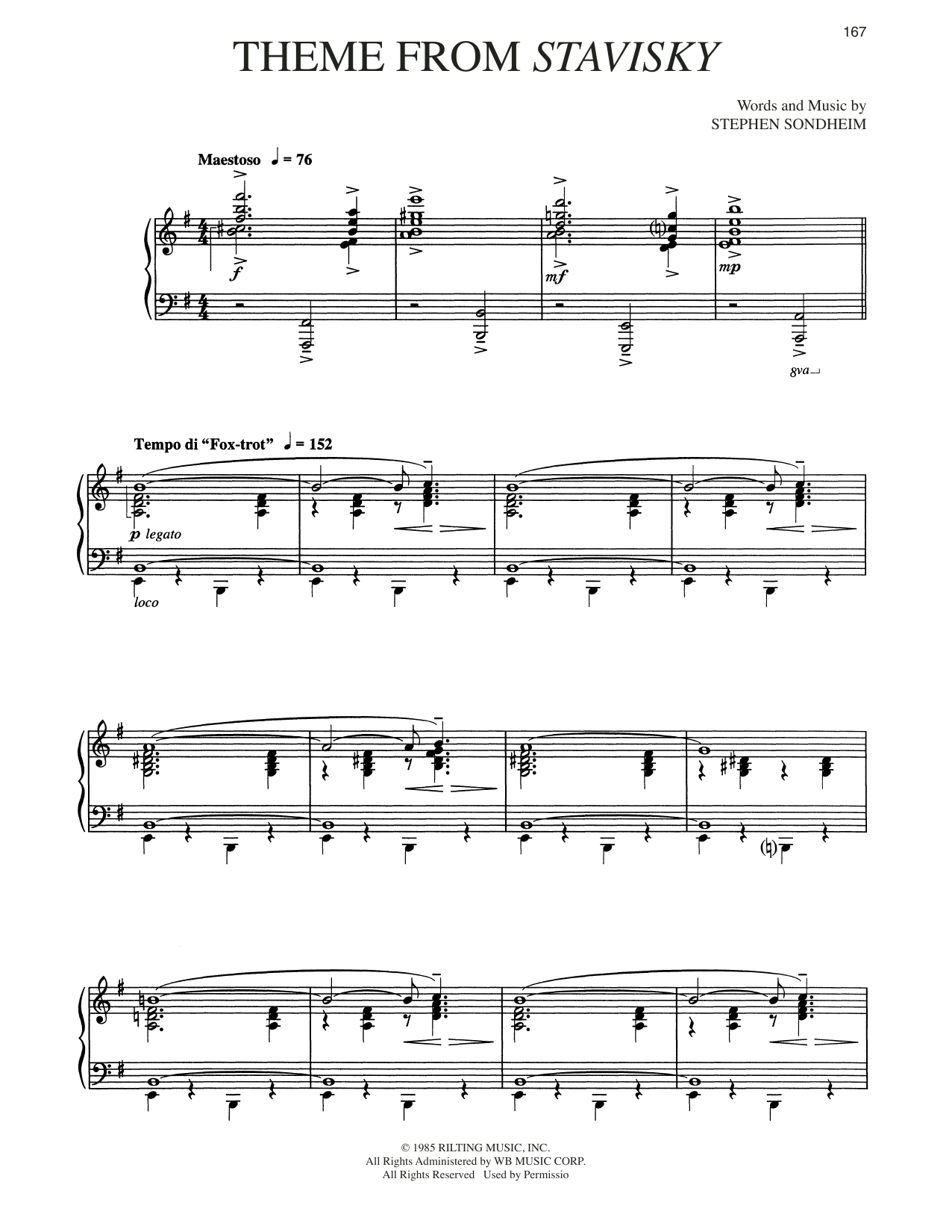 Stephen Sondheim Theme From Stavisky sheet music notes and chords. Download Printable PDF.