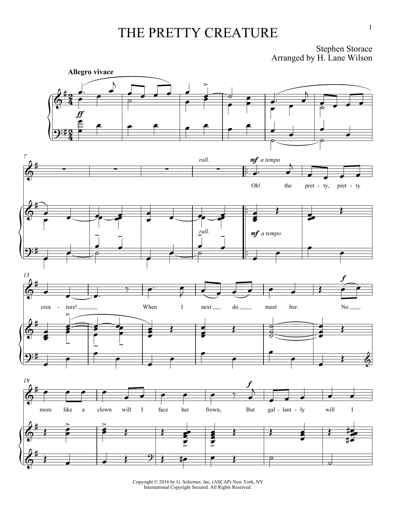 Stephen Storace The Pretty Creature sheet music notes and chords. Download Printable PDF.