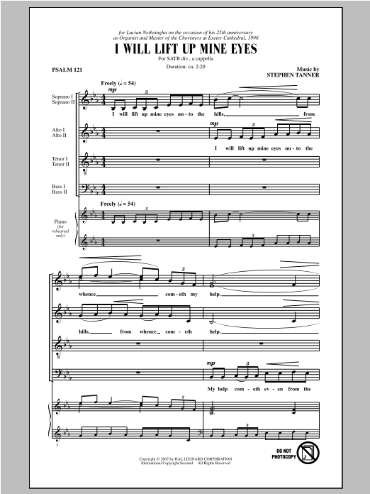 Stephen Tanner I Will Lift Up Mine Eyes Sheet Music Pdf Notes Chords Concert Score Satb Choir Download Printable Sku 97484