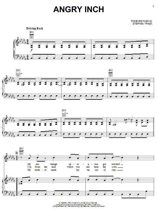 Stephen Trask Angry Inch sheet music notes and chords. Download Printable PDF.
