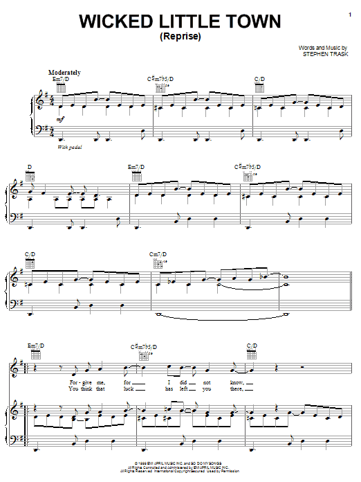 Stephen Trask Wicked Little Town (Reprise) sheet music notes and chords. Download Printable PDF.