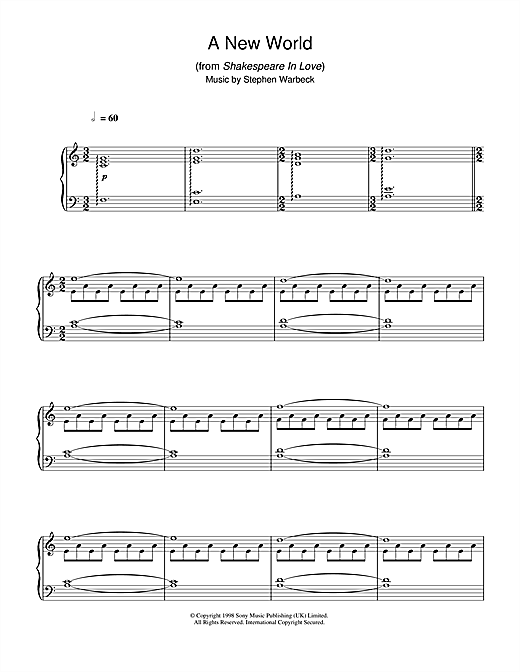 Stephen Warbeck A New World (from Shakespeare In Love) sheet music notes and chords