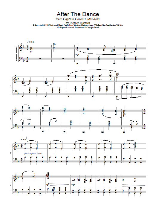 Stephen Warbeck After The Dance (from Captain Corelli's Mandolin) sheet music notes and chords. Download Printable PDF.