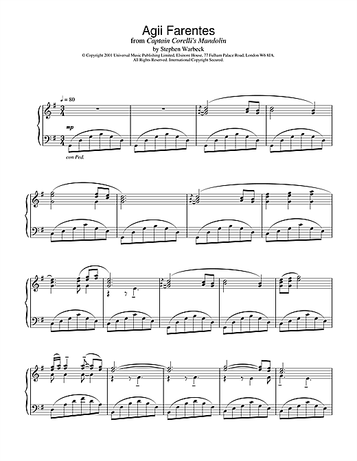 Stephen Warbeck Agii Fanentes (from Captain Corelli's Mandolin) sheet music notes and chords