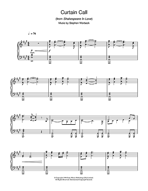 Stephen Warbeck Curtain Call (from Shakespeare In Love) sheet music notes and chords