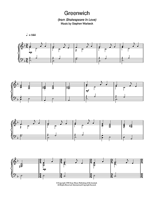 Stephen Warbeck Greenwich (from Shakespeare In Love) sheet music notes and chords. Download Printable PDF.
