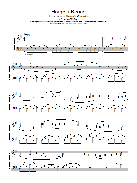 Stephen Warbeck Horgota Beach (from Captain Corelli's Mandolin) sheet music notes and chords. Download Printable PDF.
