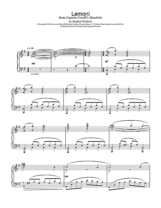 Stephen Warbeck Lemoni (from Captain Corelli's Mandolin) sheet music notes and chords